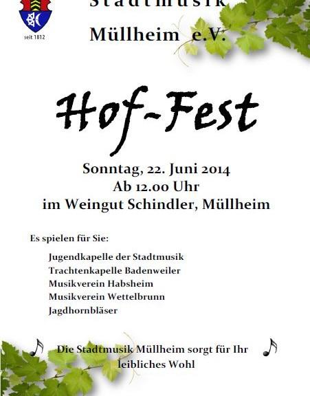 Hof-Fest der Stadtmusik Mullheim 2014